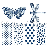 Tattered Lace - Clear Stamp - Trio Butterfly and Bows Stamps