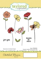 Taylored Expressions - Cling Mounted Rubber Stamp - Sketched Blooms