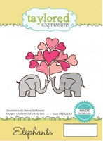 Taylored Expressions - Cling Mounted Rubber Stamp - Animals In Love - Elephants
