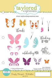 Taylored Expressions - Cling Mounted Rubber Stamp - Simply Stamped Butterflies