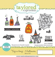 Taylored Expressions - Cling Mounted Rubber Stamp - Tag-a-long Halloween