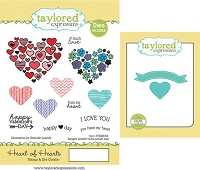 Taylored Expressions - Rubber Cling Stamps & Die Set - Heart of Hearts