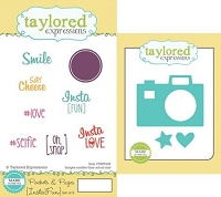 Taylored Expressions - Rubber Cling Stamps and Die Set - Pockets & Pages Instafun