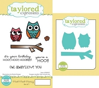 Taylored Expressions - Rubber Cling Stamps and Die Set - Hoot Hoot Hooray