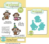 Taylored Expressions - Rubber Cling Stamps & Die Set - Monkey Business