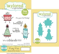 Taylored Expressions - Rubber Cling Stamps & Die Set - Party Pals