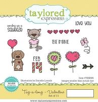 Taylored Expressions - Cling Mounted Rubber Stamp - Tag-a-long Valentine