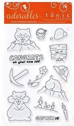 Tonic Studios - Clear Stamps - Adorables Go For It Gopher