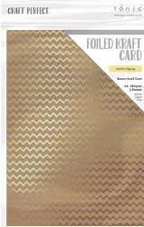 Tonic Studios - Craft Perfect Cardstock - Foiled Kraft gold zigzag 5 sheets A5