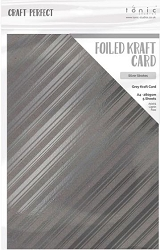 Tonic Studios - Craft Perfect Cardstock - Foiled Kraft Silver Strokes 5 sheets A4