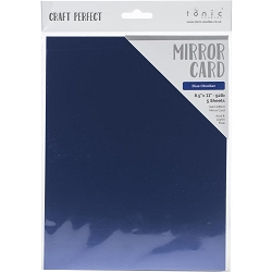 Tonic Studios - Craft Perfect Cardstock - Blue Obsidian 5 sheets Mirror High Gloss 8.5