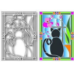 Tutti Designs - Cat Stained Glass die
