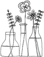 Unity Cling Rubber Stamp - Itty Bitty Bottles Blossoms