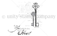 Unity Cling Rubber Stamp - Itty Bitty Collection - Key to my heart
