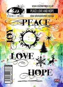 Visible Image - Clear Stamp - Peace Love and Hope