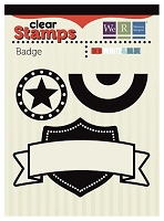 We-R-Memory Keepers - Red White Blue - Badge clear stamp
