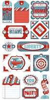 We-R-Memory Keepers - Red White Blue - Layered Chipboard Tags