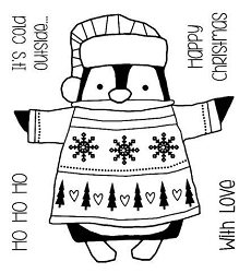 Woodware Craft - Clear Stamp - Wrapped Penguin