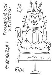 Woodware Craft - Clear Stamp - Cat Birthday Cake