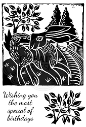 Woodware Craft - Clear Stamp - Lino Cut Hare in the Fields