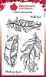 Woodware Craft - Clear Stamp - Boho Feathers