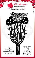 Woodware Craft - Clear Stamp - Lino Cut Perching Bird