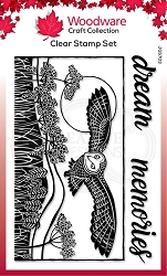 Woodware Craft - Clear Stamp - Lino Cut Hunting Owl