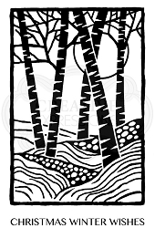 Woodware Craft - Clear Stamp - Lino Cut Birch Trees