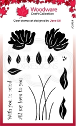 Woodware Craft - Clear Stamp - Peony Set