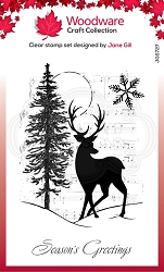 Woodware Craft - Clear Stamp - Musical Deer