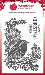 Woodware Craft - Clear Stamp - Lino Cut Robin and Holly