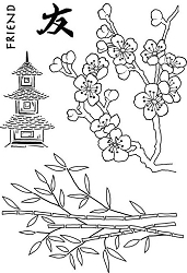 Woodware Craft - Clear Stamp - Bamboo & Blossom