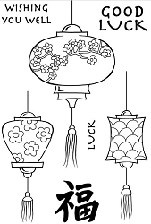 Woodware Craft - Clear Stamp - Japanese Lanterns