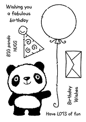 Woodware Craft - Clear Stamp - Panda Birthday