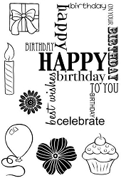 Woodware Craft - Clear Stamp - Birthday Grid