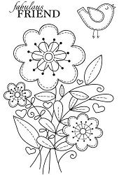 Woodware Craft - Clear Stamp - Stitched Flowers
