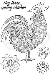 Woodware Craft - Clear Stamp - Decorative Cockerel