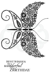 Woodware Craft - Clear Stamp - Floral Wings