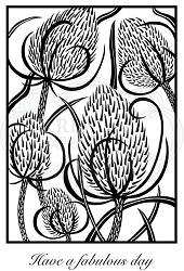 Woodware Craft - Clear Stamp - Lino Cut - Teasels