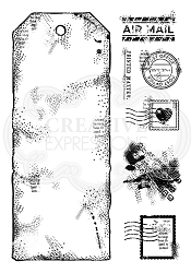Woodware Craft - Clear Stamp - Large Postal Tag