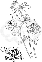 Woodware Craft - Clear Stamp - Thank You Flowers