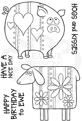 Woodware Craft - Clear Stamp - Ewe and Piggy