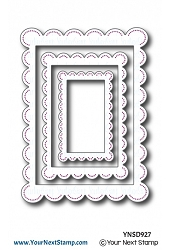 Your Next Stamp - Dies - Rectangle Scallop Frames with Piercing Marks