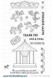 Your Next Stamp - Clear Stamp - Spin and Twirl Carousel