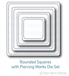 Your Next Stamp - Dies - Rounded Squares with Piercing Marks