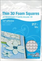 3L Scrapbook Adhesives - 3D Foam Squares - Thin white large/small mix (1mm thick, 63 of 10mm square, 154 of 5mm squares)