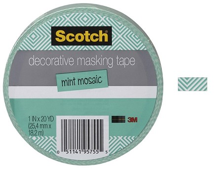 "3M Scotch - Decorative Masking Tape - 1"" x 20 yards - Mint Mosaic"