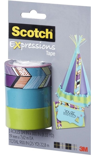 "3M Scotch - Expressions Removable Tape - 3/4"" x 300"" - 3 Pack -  Tribal / Blue / Green"