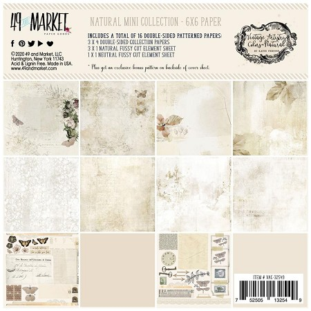 "49 and Market - Natural Vintage Artistry Colors 6""x6"" Paper Pack"