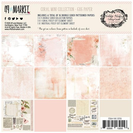 "49 and Market - Coral Vintage Artistry Colors 6""x6"" Paper Pack"